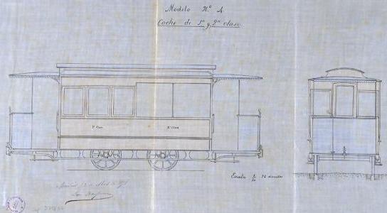 Plano del coche de 1º y 2ª clase propuesto por Leon Monpour, archivo AHN