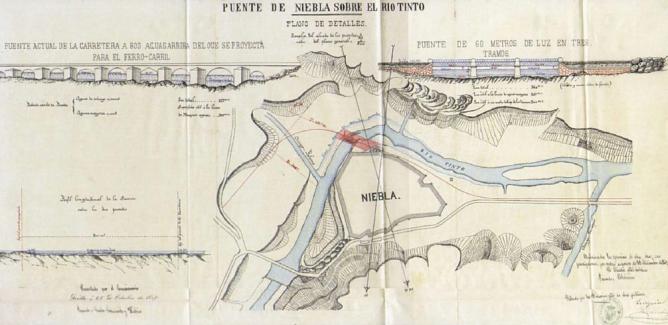 Plano del puente sobre el Rio Tinto en Niebla, linea de Sevilla a Huelva , año 1869, AHF - B-0071-002-20