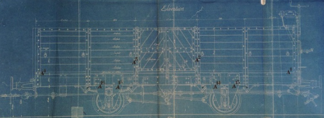 Plano vagon de dos ejes, de ferrocarriles de sierra Nevada , archivo Miguel Jiménez Yanguas