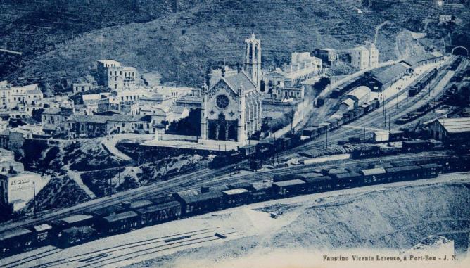 Port Bou , vista estacion lado Francia, postal comercial