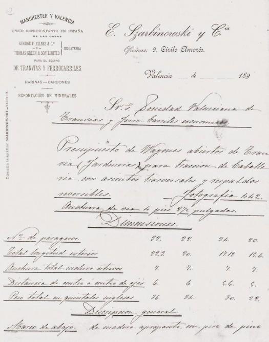 Primera página oferta tranvías mulas Valencia , ancho cuatro pies y 8,5 puelgadas, fondo FGV