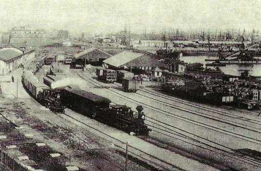 Primitiva estación en Les Hortes de San Beltran- Ferrocarril de Vilanova, año 1888