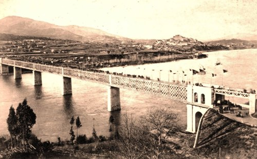 Puente internacional del Miño, terminado. Fondo Euskotren, MVF