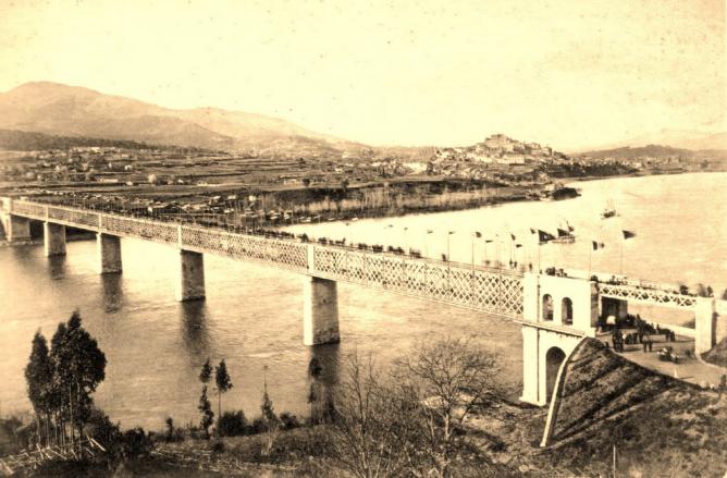 Puente internacional sobre el Miño, inaugurado el 25 marzo 1886