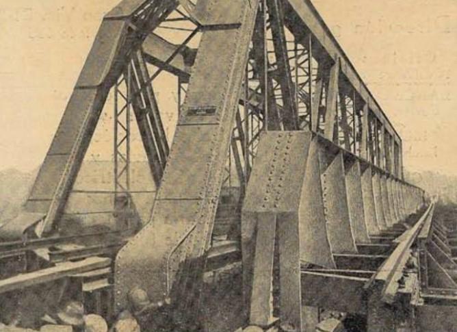 Puente sobre el Guadiato, linea de Cordona a Sevilla, año 1923, Revista Ingenieria y Construccion, febrero 1923