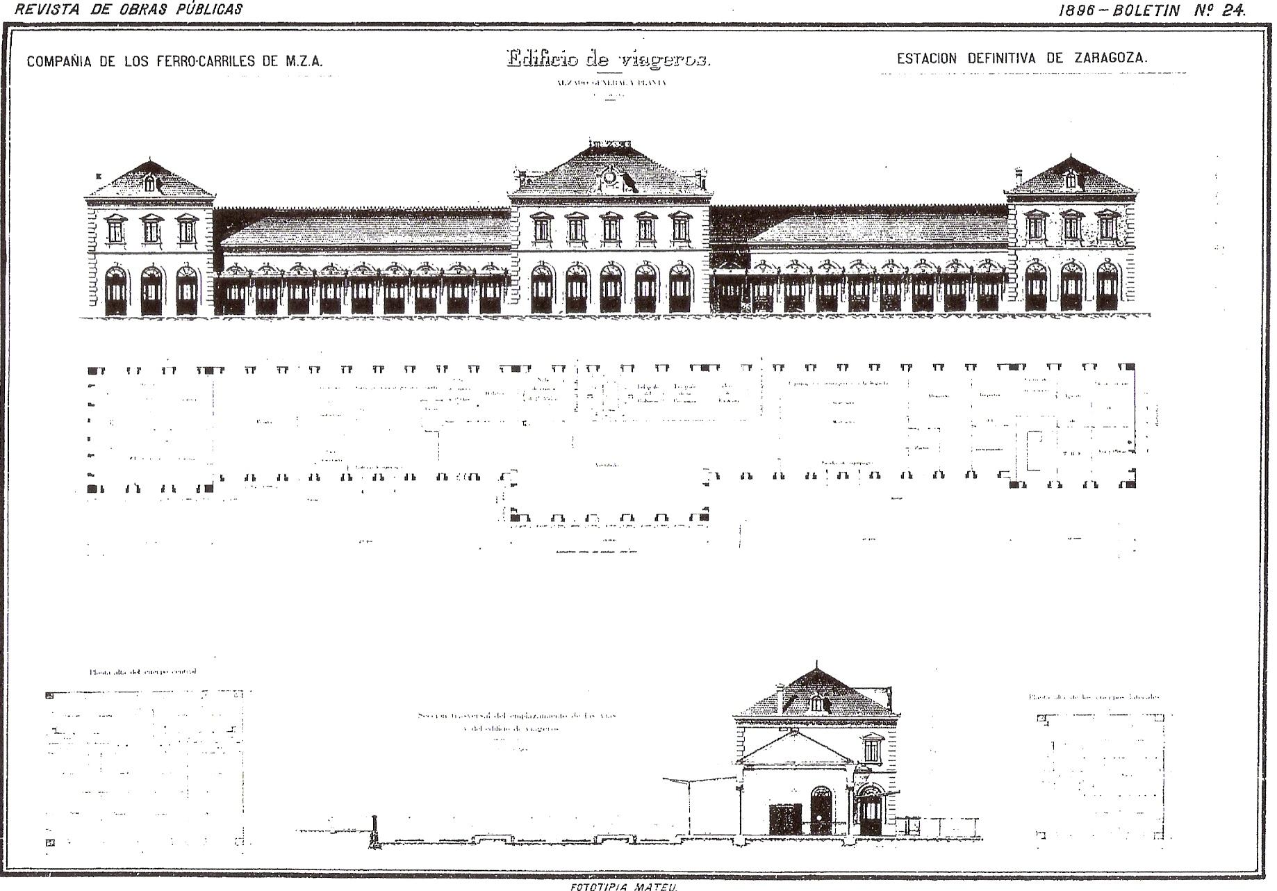Estacion de MZA en Zaragoza Campo Sepulcro ROP 1896, nº 24 .