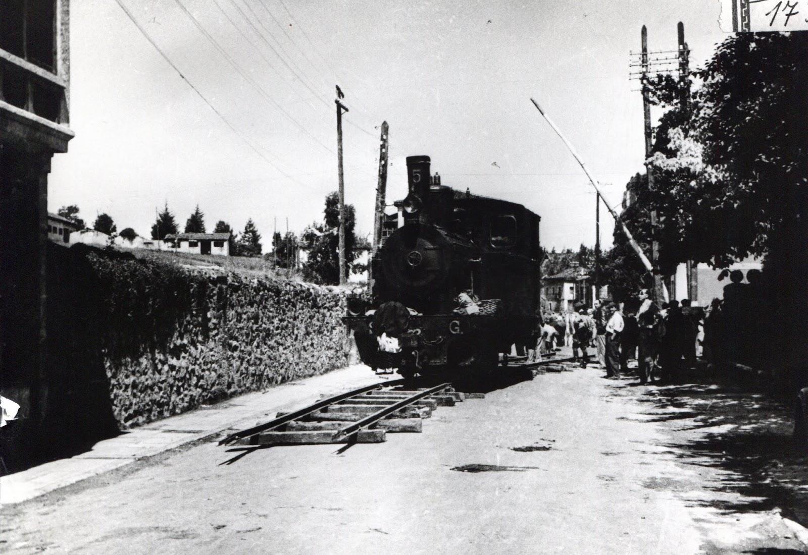 Sadaba a Gallur locomotora nº 5 alquilada al Amorebieta a G. y P. archivo Gernikazarra Historia Taldea