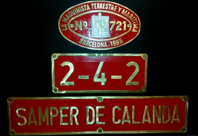 Placas de la loomotora Samper de Calanda, coleccion Juan Manero