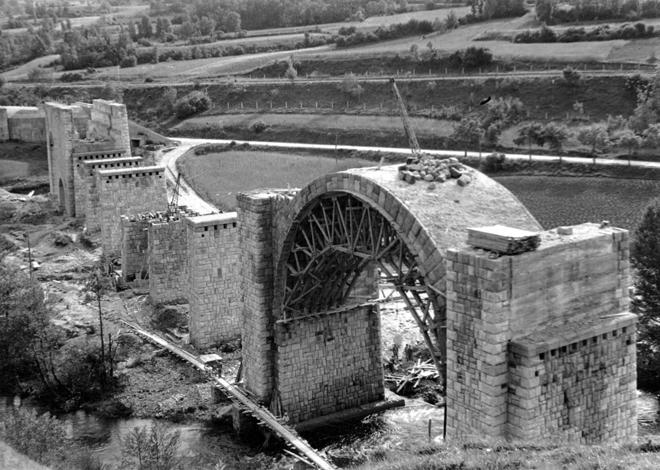 Santander - Mediterráneo , Viaducto en construcción de Santelices,