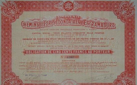 Título de una obligacion de 500 Fr.
