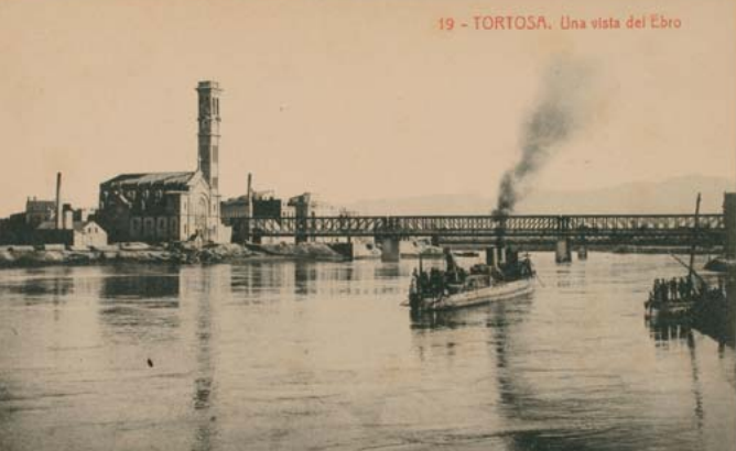 Totosa , vista del puente del ferrocarril sobre el Ebro, postal comercial, fondo APG