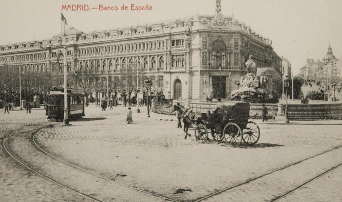 Tranvia 112 de Madrid en Cibeles, Postal comercial.