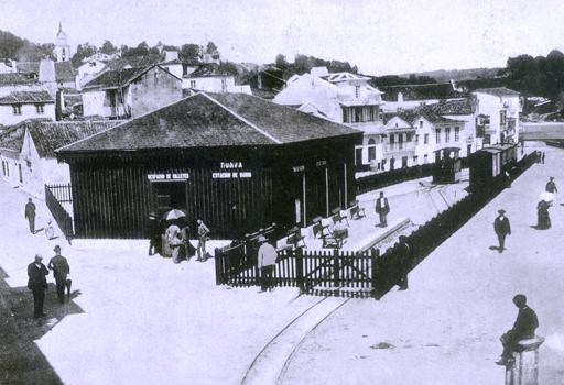Tranvia a vapor de Pontevedra a Marin , estacion de Marin, foto J. Zagala