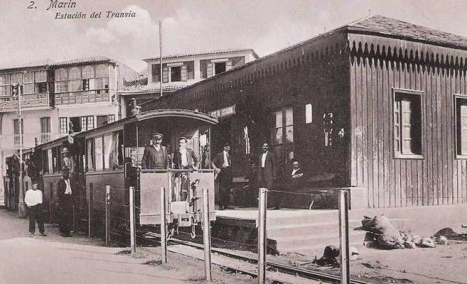 Tranvia a vapor de Pontevedra a Marin , estacion de Marin, postal comercial
