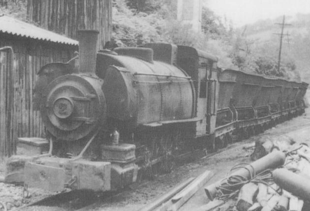 Tranvia a vapor de Santullanoa Cabañaquinta, tren procedente de Agueira, locomotora nº 2 , Colección Jose Luis de La Cruz