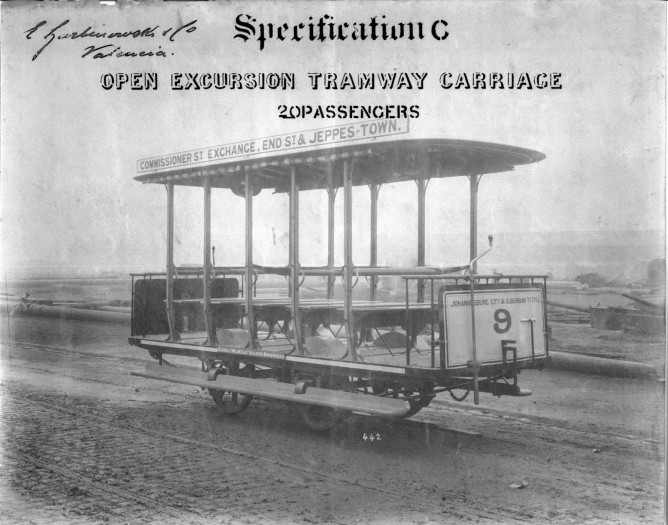 Fotografia del Tranvía de Joanesburgo que acompañó a la oferta, archivo FGV
