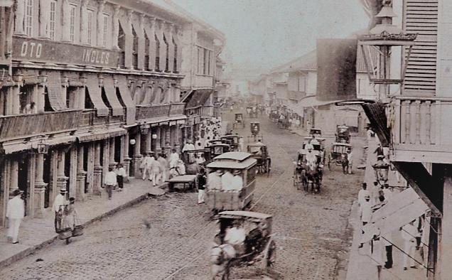 Tranvia en la Calle de la Escolta en Manila, postal comercial foto E.M. Barretto