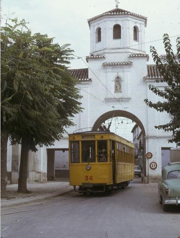 Tranvia nº 36 , en la linea 3 , Puerta de Loja , Santa Fe , 02.11.1973 , foto Jose Antonio Tartajo