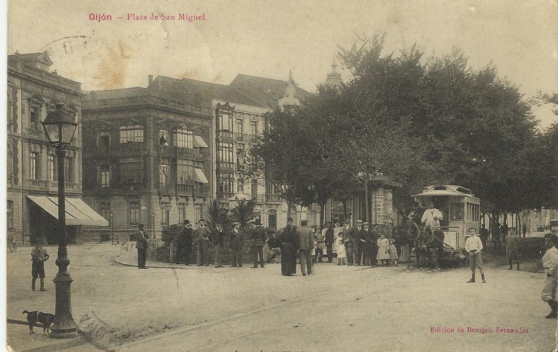Tranvias de Gijon , Plaza de San Miguel Postal comercial, , Fondo Juan Peris TornerScan
