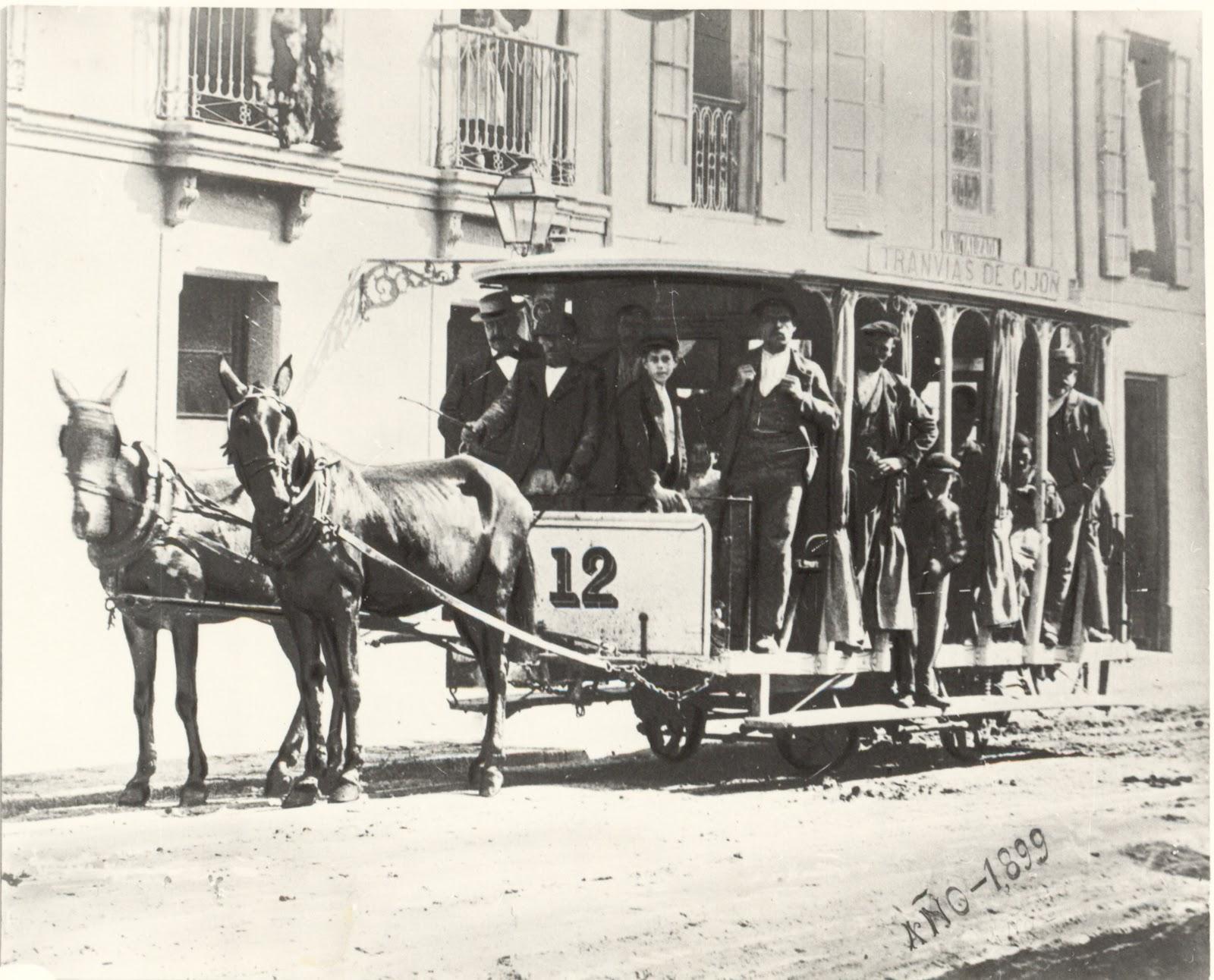 Tranvias de Gijon , año 1899, fondo Museo del Ferrocarril de Asturias