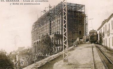 Tranvias de Granada, Cremallera a la Alhambra , postal comercial