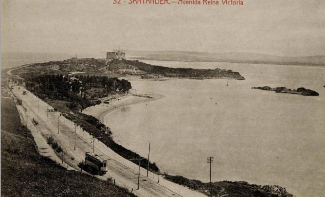 Tranvias de Santander, Avda Reina Victoria. Postal comercial