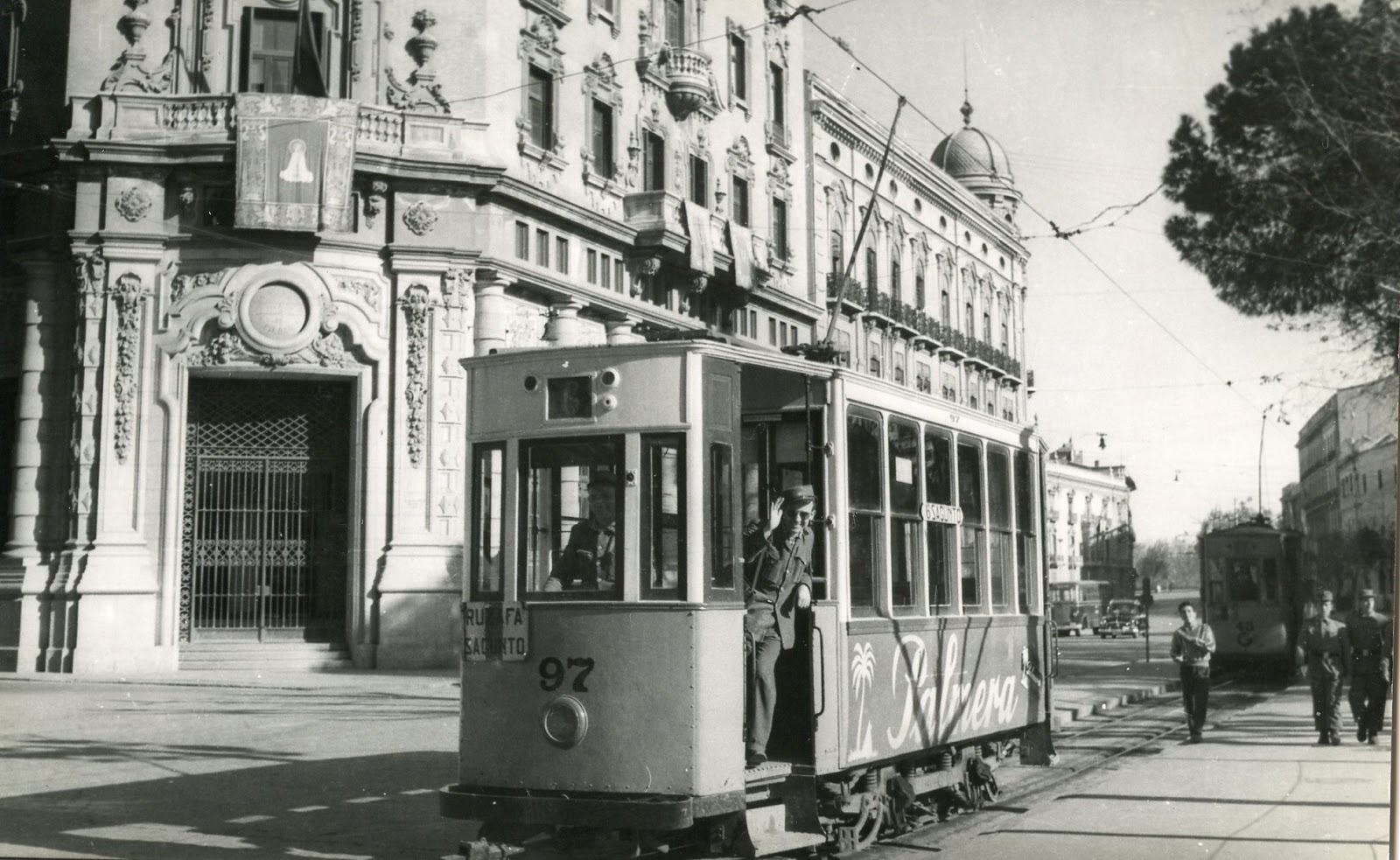 Tranvia nº 97 de Valencia,Ruzafa a Sagunto, serie 85 a 150 año 1954, fografia G.Masino
