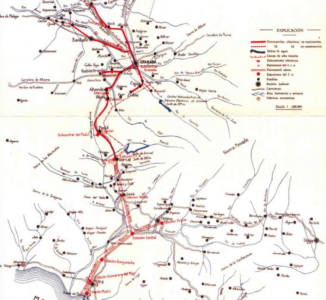 Tranvias electricos de Granada , plano tomado de Ferropedia