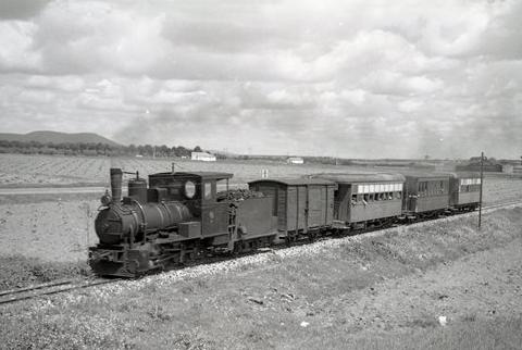Tren mixto en la llanura manchega. foto Trevor Rowe, archio Museo vasco del Ferrocarril
