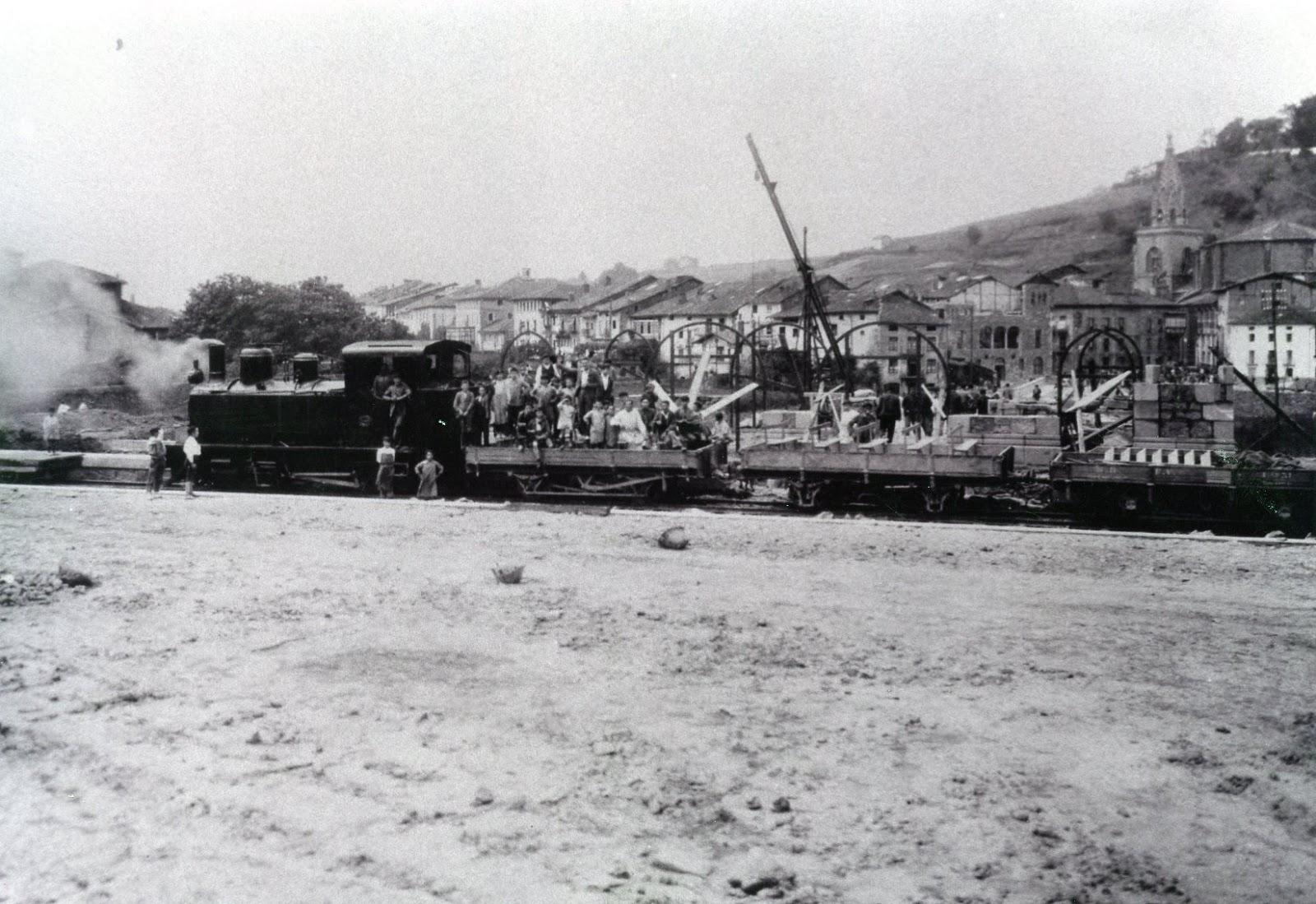 Urola, llegada primer tren a Azpeitia, oct 1924, Fondo J.J. Olaizola