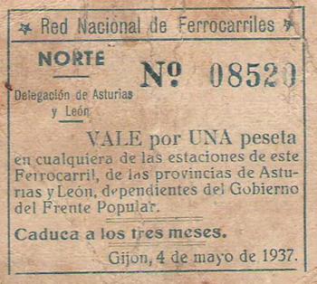 Vale de una peseta de la RNF