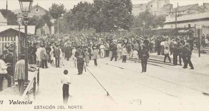 Valencia , Estación del Norte, Biblioteca Valenciana, Postal comercial