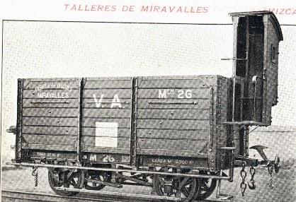 Vasco Asturiano , vagón de Bordes altos, construido por Talleres de Miravalles, fondo MVF