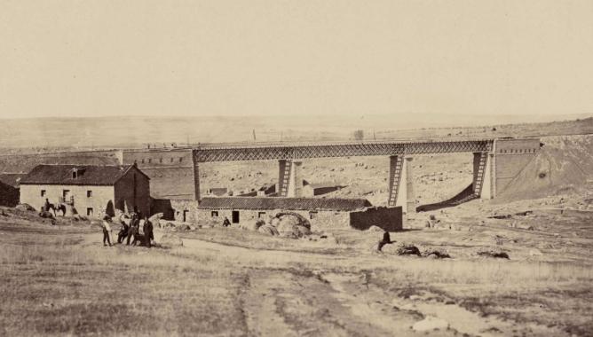 Viaducto de La Gartera, estación de Navalgrande, Navalperal, año 1864, foto Auguste Muriet , fondo BNE