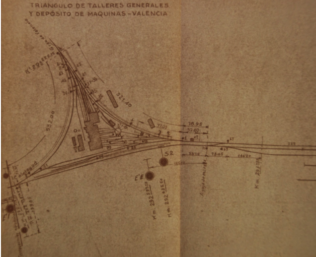 Vias de Servicio del triangulo de los talleres generales y del depósito de Valencia