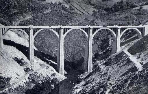 Línea de Zamora á la Coruña, viaducto de Arnoya, album MZOV