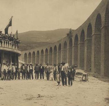 Zuera á Oloron ( Línea de Canfranc, Viaducto de Cenabre, 24 de julio de 1916, foto Francisco de las Heras, fondo AHF-F-194