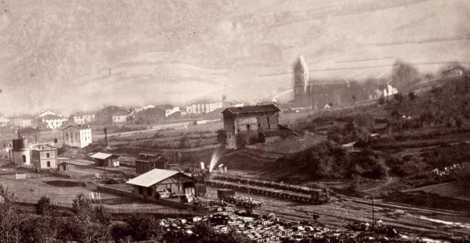 Zumarraga panoramica de la estación , año 1864, foto Auguste Murriel , fondo BNE