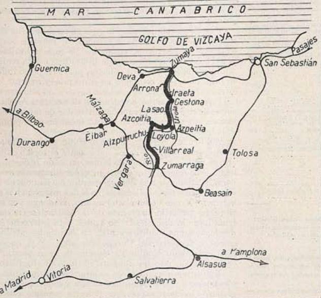Ferrocarril del Urola , plano tomado de la Revista Ingenieria y Construccion