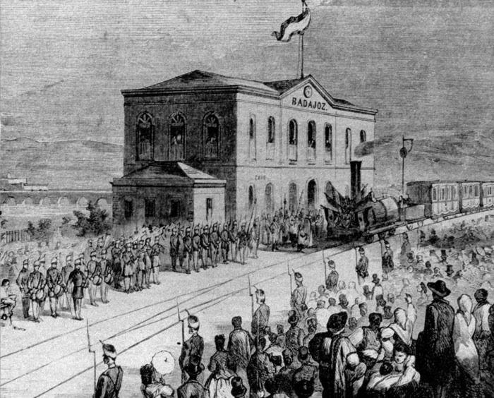 Grabado de la inauguracion de la estación de Badajoz