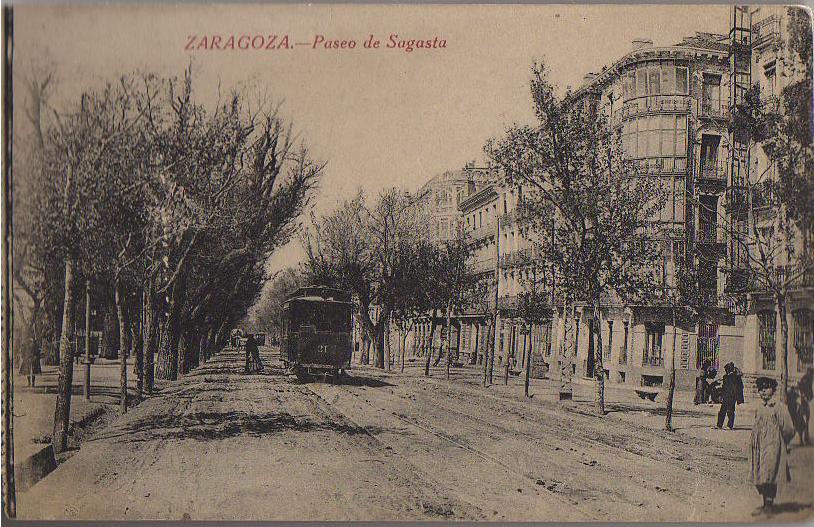 T de Z. Paseo de Sagasta, postal comercial , Fondo : Miguel Diago Arcu