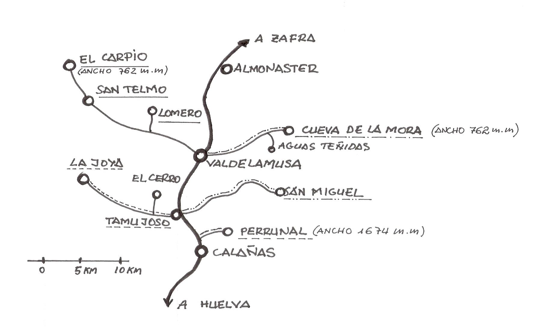 Esquema de las linas que confluyen al Ferrocarril de Zafra a Huelva,