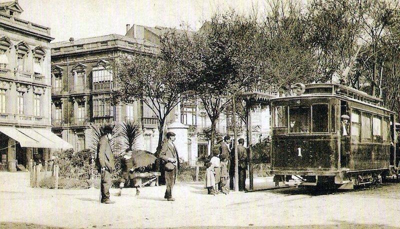 Tranvias de Gijón , Plaza de San Miguel, Postal comercial, autor desconocido