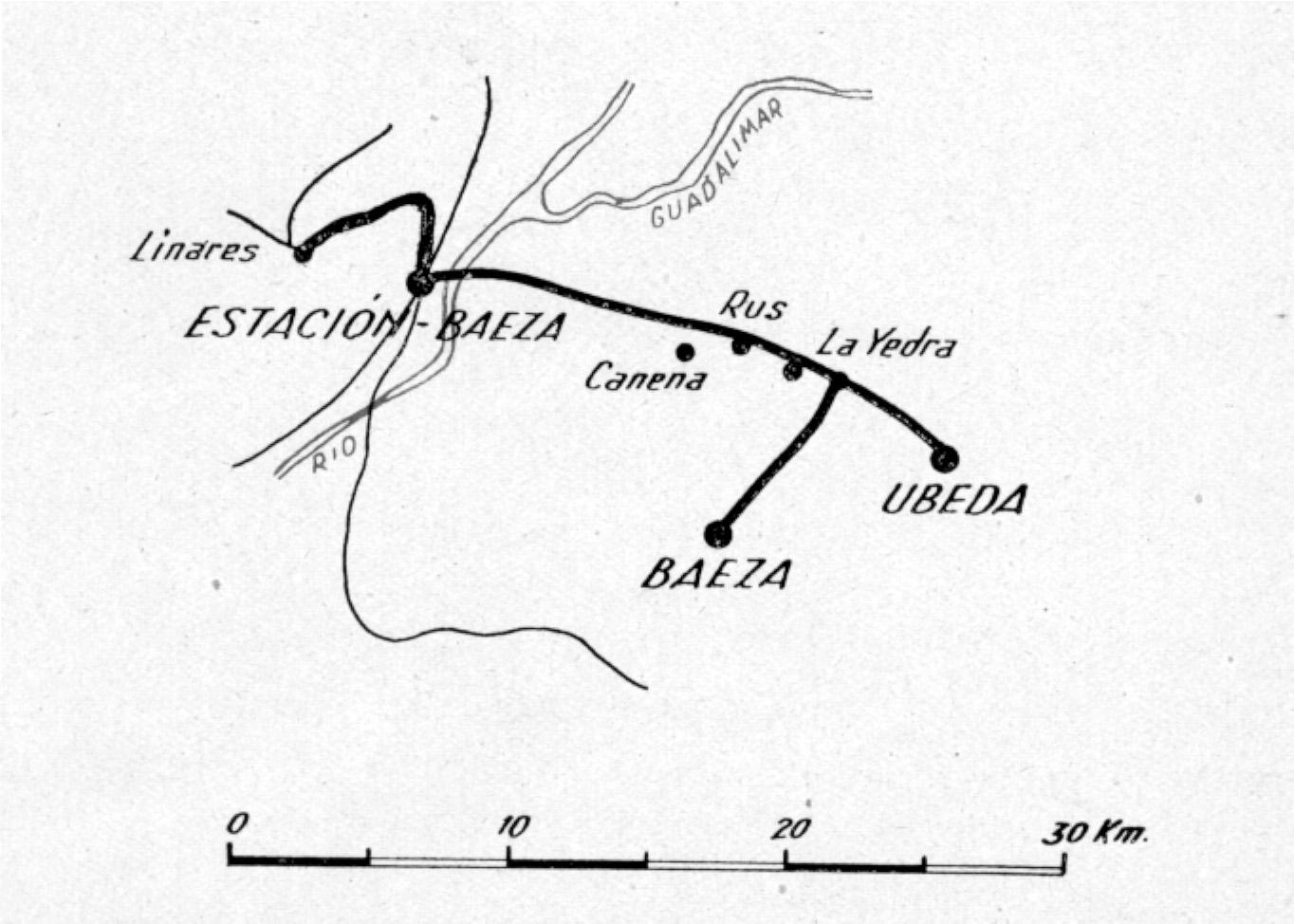 Plano de la linea, tomado del informe de 1941, de EFE
