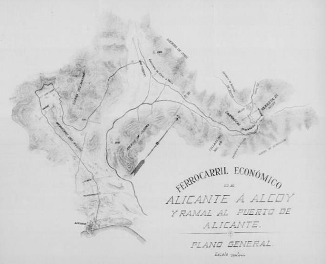 """Plano del """"Estudio Económico del Ferrocarril de Alicante a Alcoy y ramal al puerto de Alicante"""" año 1902- Camilo Gisbert y Terol (BNE) Archivo Luis Pons Boix"""