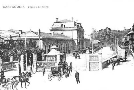 Estacion de Santander- Postal Comercial, Fondo: Miguel Diago Arcusa