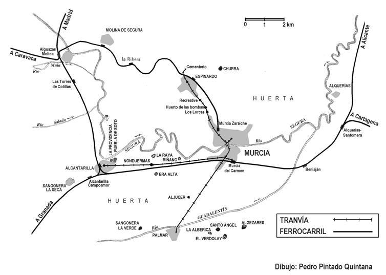 Plano de situacion del ferrocarril en Murcia