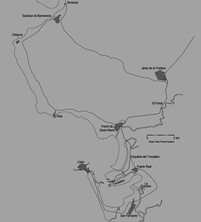 esquema del itinerario de la linea, dibujo Pedro Pintado Quintana