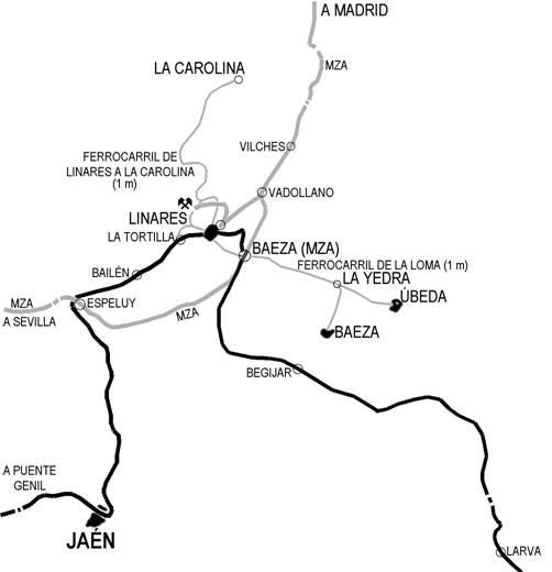 Esquema de las lineas ferroviarias en el entorno de Linares, dibujo