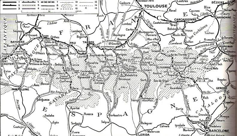 Plano der los ferrocarriles Transpirenaicos